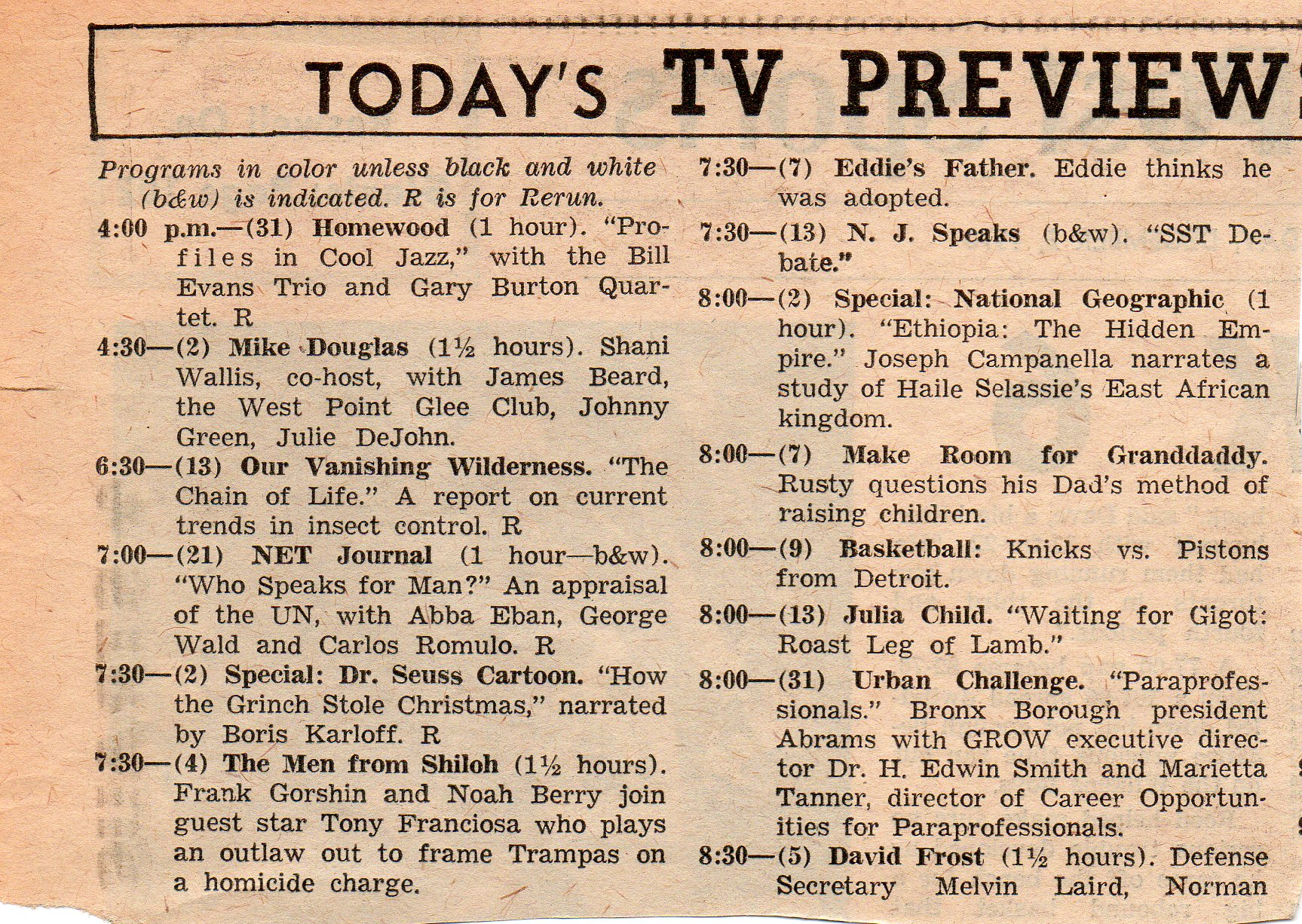 dont forget all programs are in color unless black and white is indicated - Christmas Shows On Tv Tonight