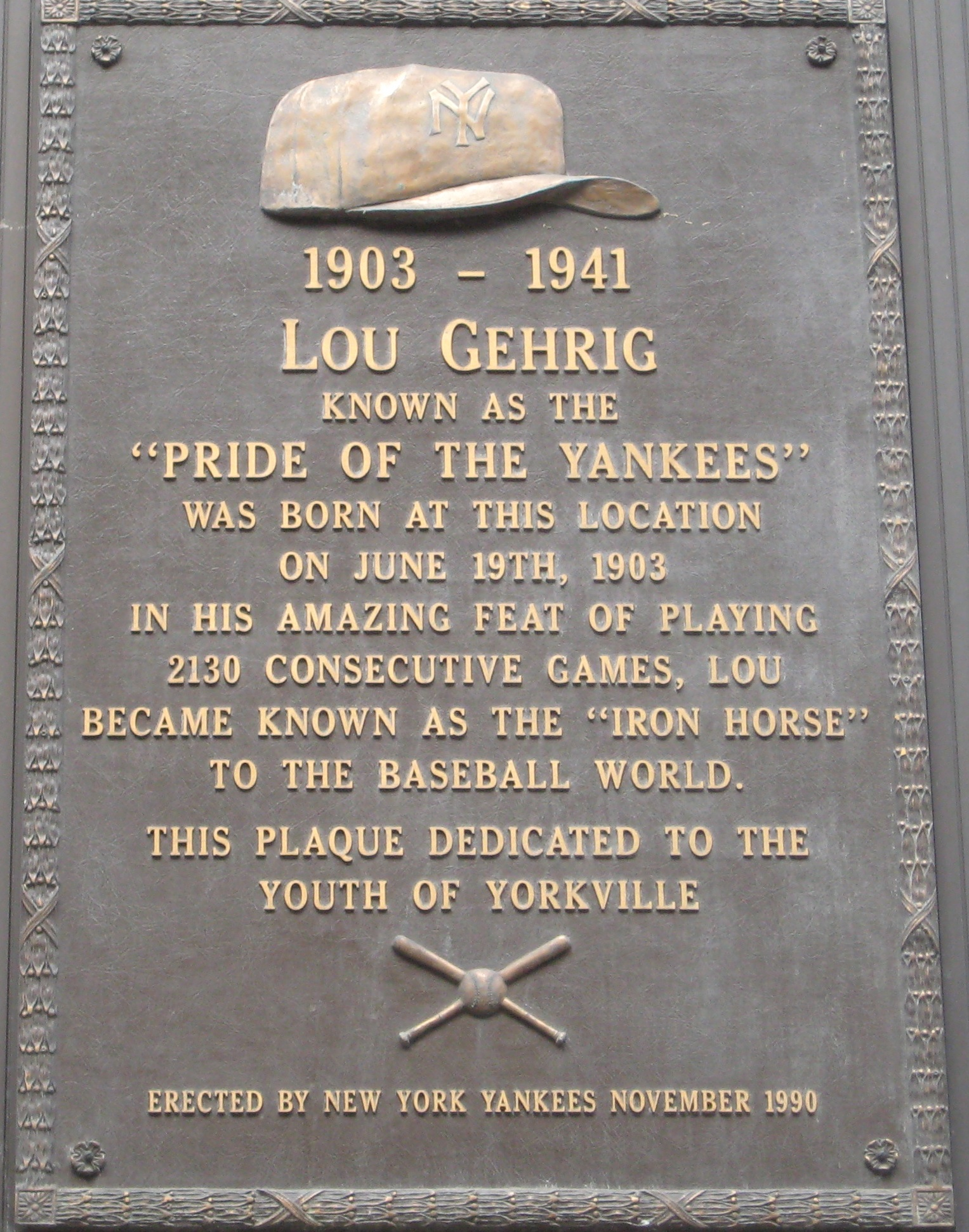 A yorkville memorial for lou gehrig ephemeral new york lougehrigplaque aiddatafo Images