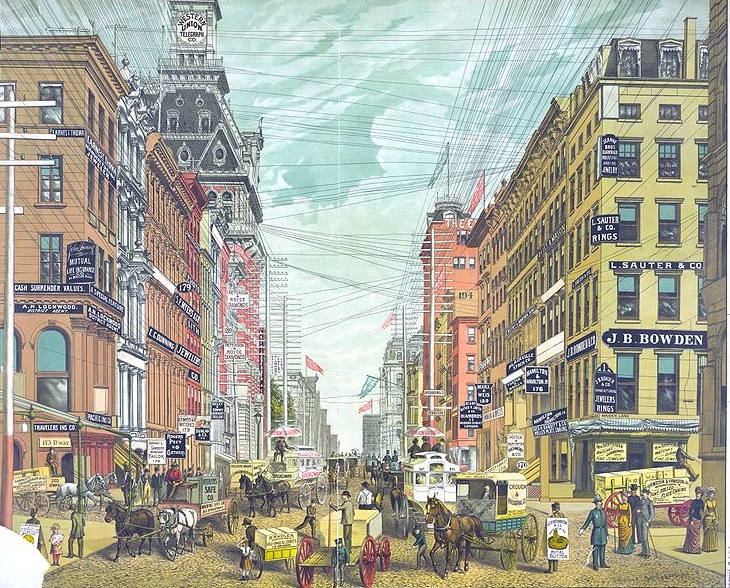Lower Manhattan criss-crossed by wires | Ephemeral New York