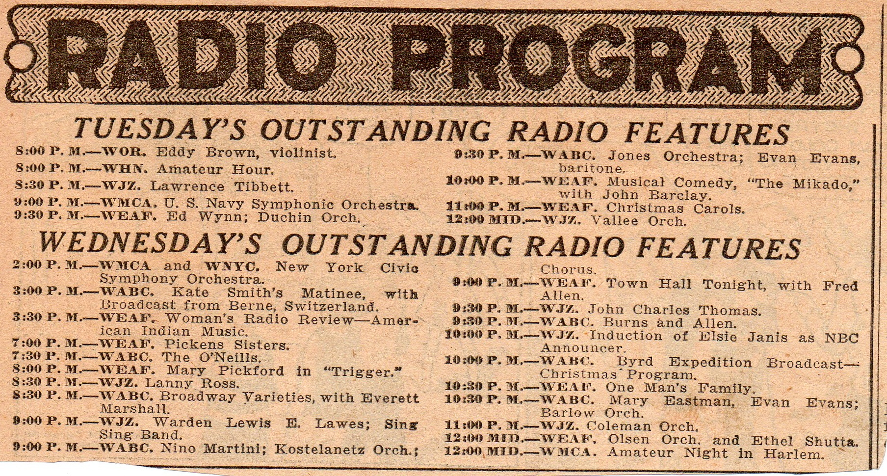 Radio Programs Of The 1930s on old radios from 1920s