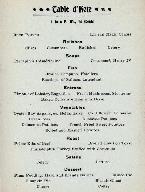A Thanksgiving Dinner Menu From 1899 Ephemeral New York
