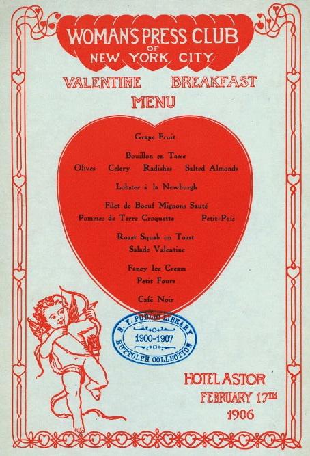 the hotel astor u2019s valentine u2019s day menu in 1906