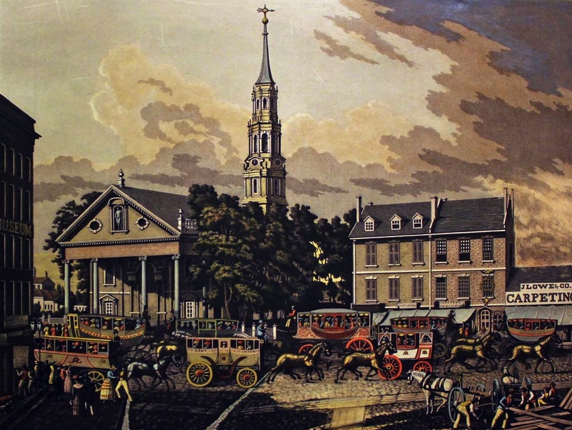 vintage paintings of bowling green city hall broadway ephemeral