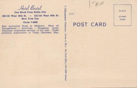 Bristolhotelpostcardback