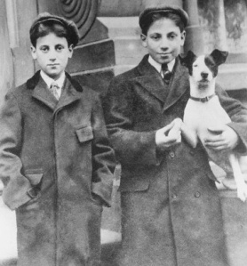 Young Groucho and Harpo Marx with a Dog