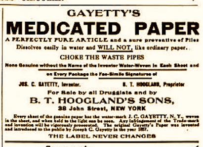 A 19th Century New Yorker Invents Toilet Paper Ephemeral