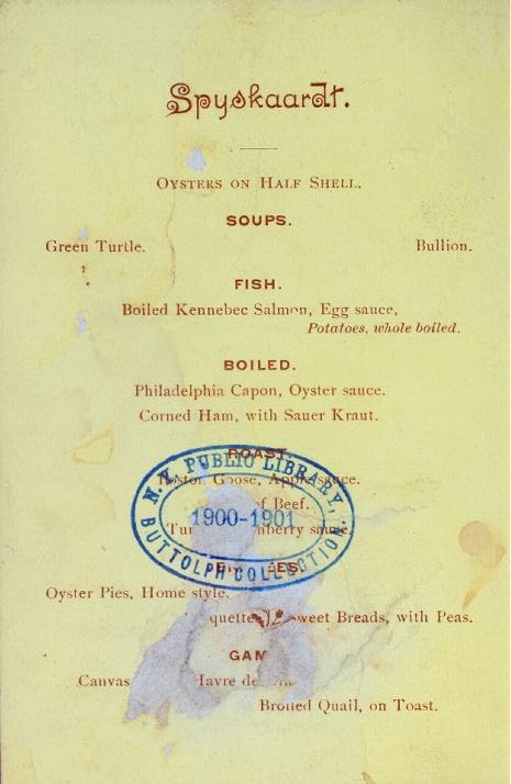 Vintage Dinner Menus