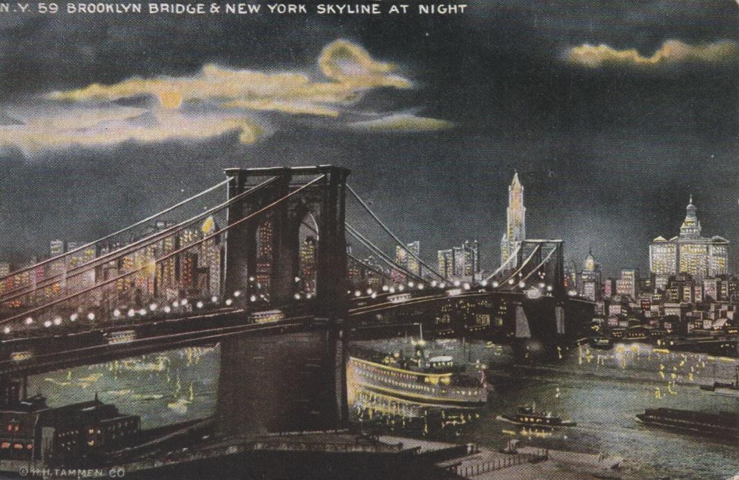 Brooklynbridgenightpostcard