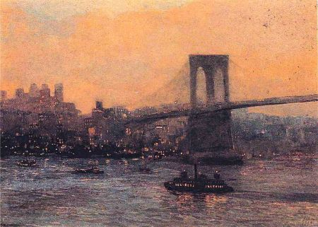 Brooklynbridgeatnightredfield1909
