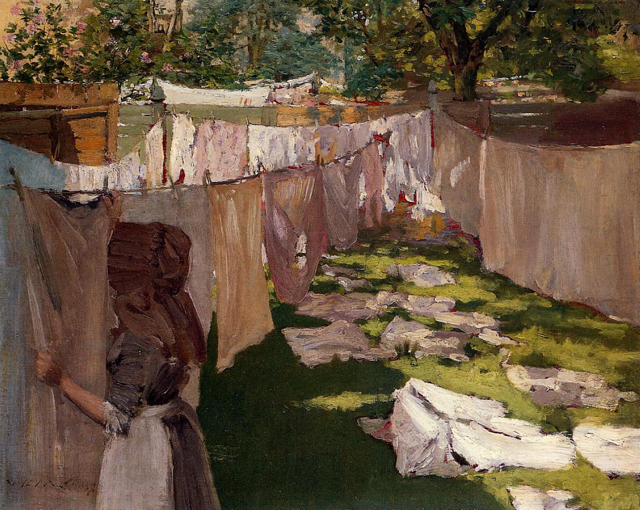 hanging up the wash in a brooklyn backyard ephemeral new york