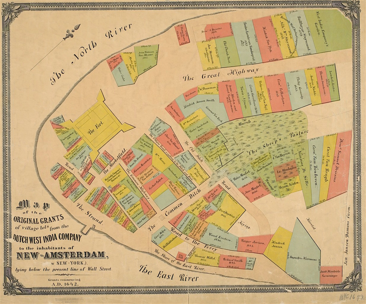 Old Map Of New York.New Amsterdam Old Map Ephemeral New York