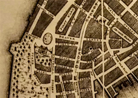 take marketfield street for example you can just make it out on the circa 1797 map below market is on the far left and field picks up on the right