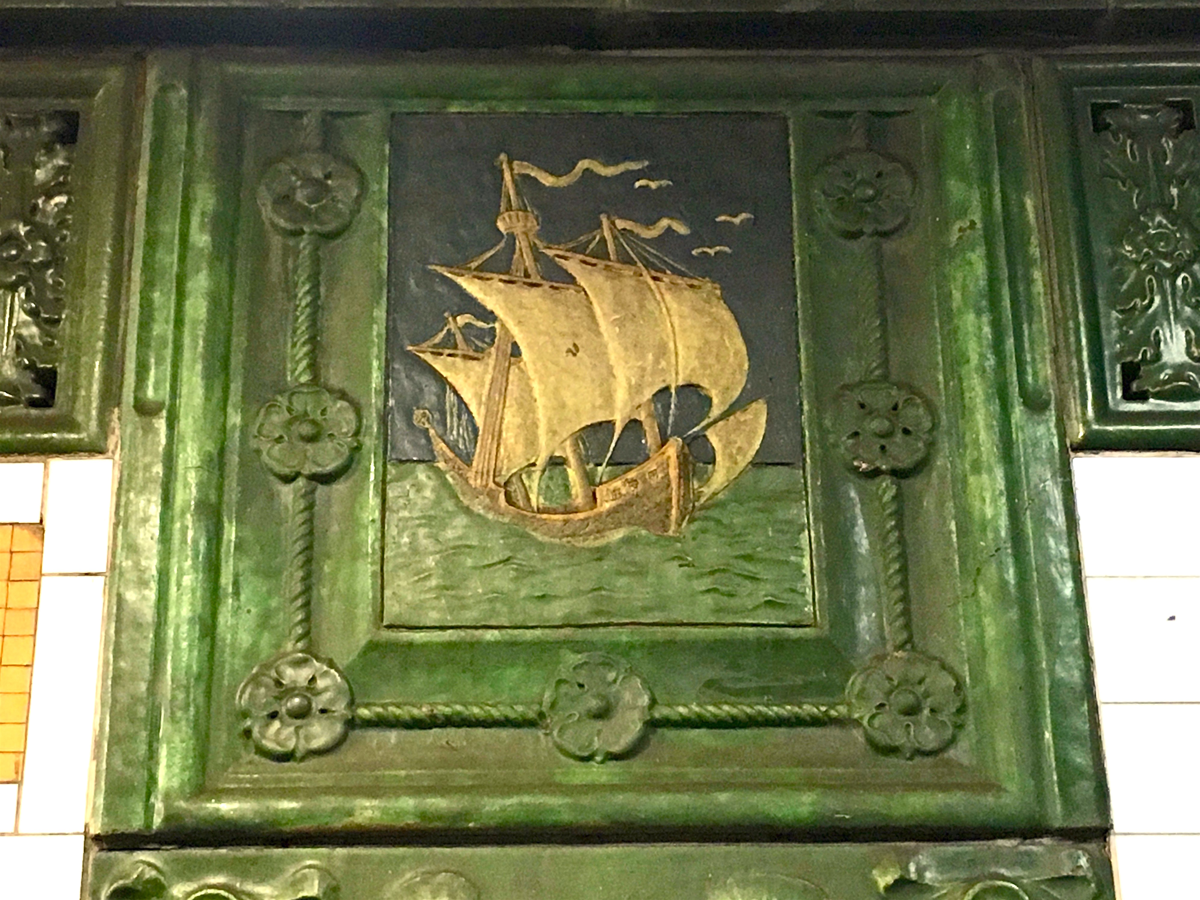 Behold The Blue Green And Off White Faience Plaques Depicting Santa Maria Largest Of Three Sailing Ships Columbus Commanded On His First